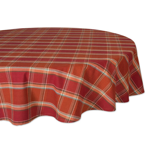"""70"""" Brown and White Plaid Round Tablecloth - IMAGE 1"""