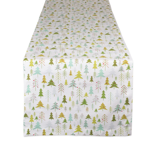 "72"" White and Green Christmas Tree Printed Rectangular Table Runner - IMAGE 1"