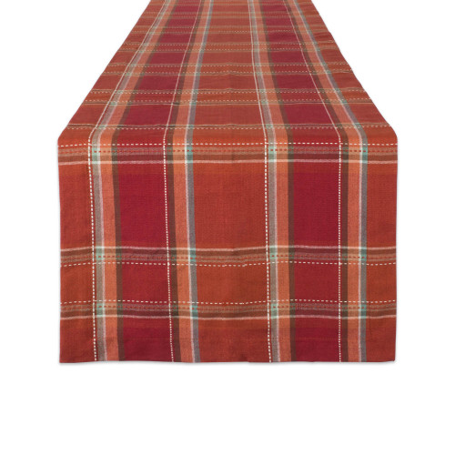 "72"" Red and Orange Plaid Rectangular Table Runner - IMAGE 1"