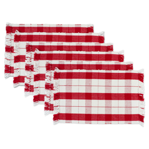 """Set of 6 Red and White Tinsel Plaid Fringed Rectangular Placemats 19"""" - IMAGE 1"""