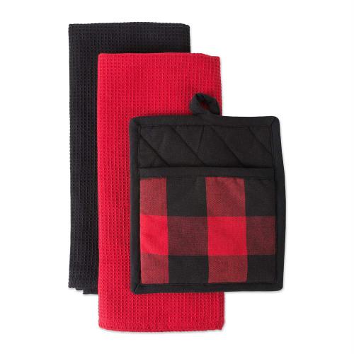 "Set of 3 Red and Black Checkered Potholder with Rectangular Dishtowels 28"" - IMAGE 1"