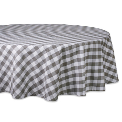 """70"""" Gray and White Checkered Round Tablecloth - IMAGE 1"""