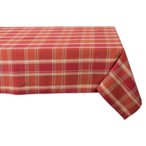"84"" Brown and White Plaid Rectangular Tablecloth - IMAGE 1"