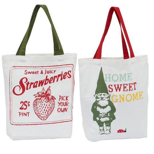 """Set of 2 White and Red """"Home Sweet Gnome"""" Printed Rectangular Tote Bags 15.25"""" - IMAGE 1"""