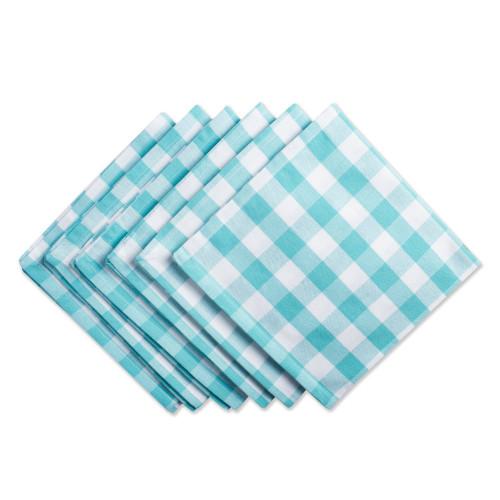 "Set of 6 Aqua Blue and White Checkered Square Napkins 20"" - IMAGE 1"
