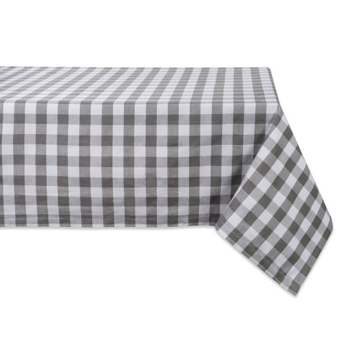 "84"" Gray and White Checkered Rectangular Tablecloth - IMAGE 1"