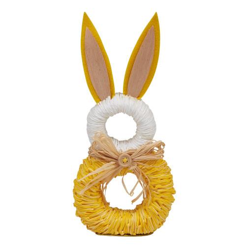 "Set of 6 White and Yellow Rabbit Napkin Rings 9.5"" - IMAGE 1"