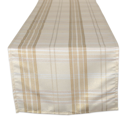 "72"" Beige and Brown Plaid Rectangular Table Runner - IMAGE 1"