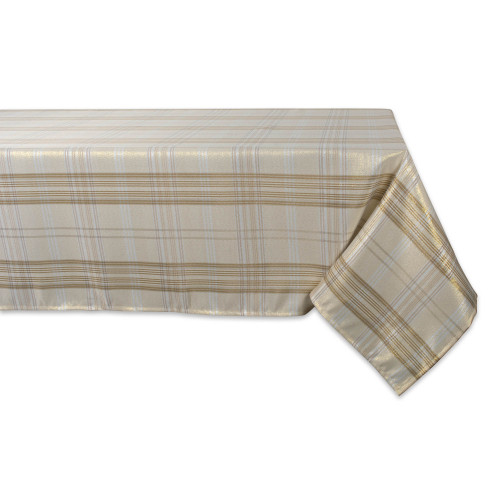 "84"" Cream White and Brown Metallic Plaid Rectangular Tablecloth - IMAGE 1"