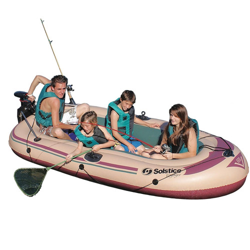 "133"" Beige and Brown 6 Person Inflatable Voyager Boat - IMAGE 1"