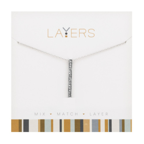 """1.5"""" Silver Adjustable Necklace with Single Bar Pendant - IMAGE 1"""