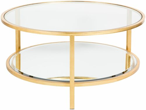 "36"" Clear and Gold Colored Hand Crafted Round Table Accent - IMAGE 1"