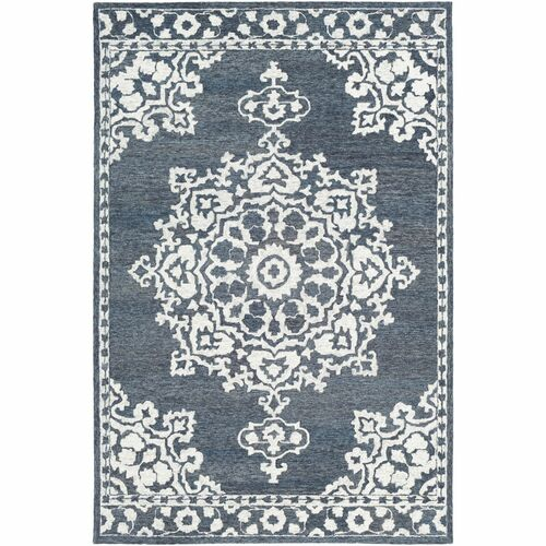 5' x 7.5' Floral Mandala Patterned Gray and White Rectangular Hand Tufted Wool Rug - IMAGE 1