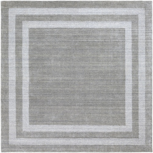 8' Bordered Gray Square Hand Tufted Wool Area Throw Rug - IMAGE 1