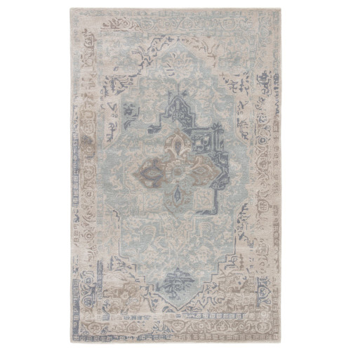 10' x 14' Teal Blue and Beige Vintage Hand Tufted Rectangular Area Throw Rug - IMAGE 1