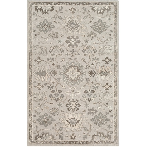 5' x 8' Persian Floral Design Gray and Brown Rectangular Hand TuftedA rea Rug - IMAGE 1
