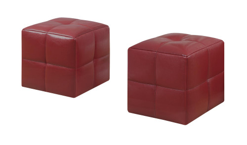 """Set of 2 Red Contemporary Cubic Upholstered Ottomans 12"""" - IMAGE 1"""