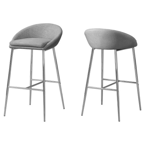 """Set of 2 Gray Contemporary Upholstered Barstools with Back 35.75"""" - IMAGE 1"""