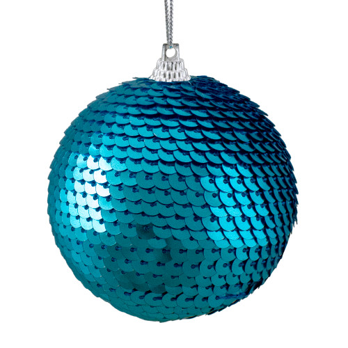 """Turquoise Blue Sequin Shatterproof Ball Christmas Ornament 3"""" - IMAGE 1"""