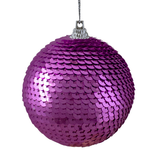 "Magenta Pink Sequin Shatterproof Ball Christmas Ornament 3"" - IMAGE 1"