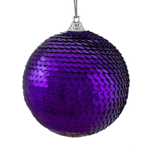 "Purple Sequin Shatterproof Ball Christmas Ornament 3"" - IMAGE 1"