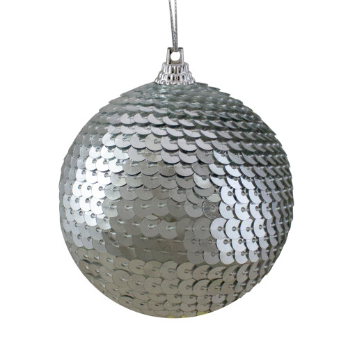 """Silver Sequin Shatterproof Ball Christmas Ornament 3"""" - IMAGE 1"""