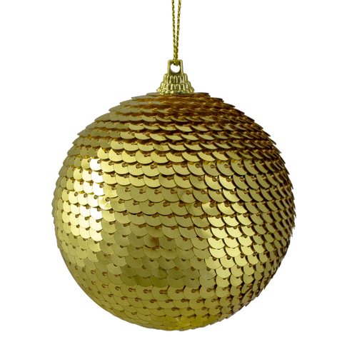 "Gold Sequin Shatterproof Ball Christmas Ornament 3"" - IMAGE 1"