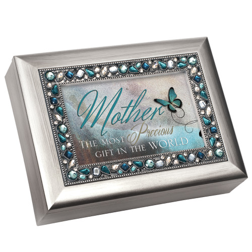 """8"""" Blue and Silver Colored Mother's Love Themed Rectangular Music Box - IMAGE 1"""