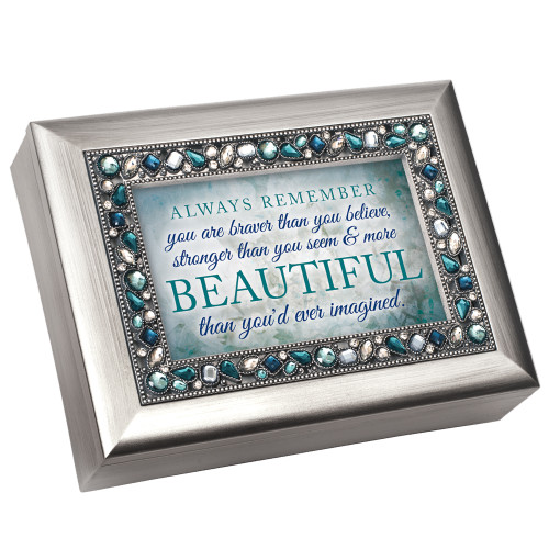 """8"""" Silver Colored and Blue Vintage Style Music Box with Jewels - IMAGE 1"""