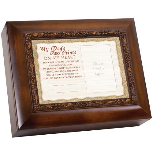 "10"" Brown and White ""My Dog's Paw Prints"" Rectangular Memorial Box - IMAGE 1"