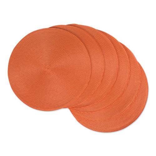 "Set of 6 Orange Woven Round Placemats 15"" - IMAGE 1"
