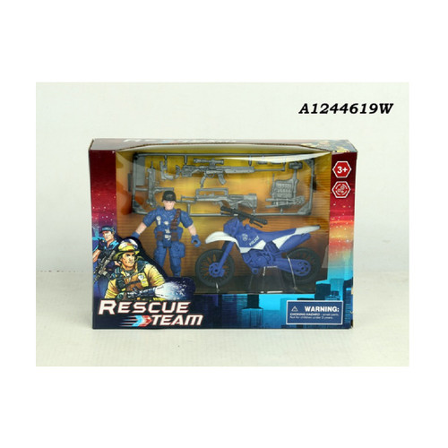 Blue and White Police Rescue Team Playset Children's Toy - IMAGE 1