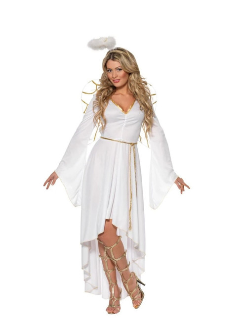 """40"""" White and Gold Angel Women Adult Halloween Costume - Small - IMAGE 1"""
