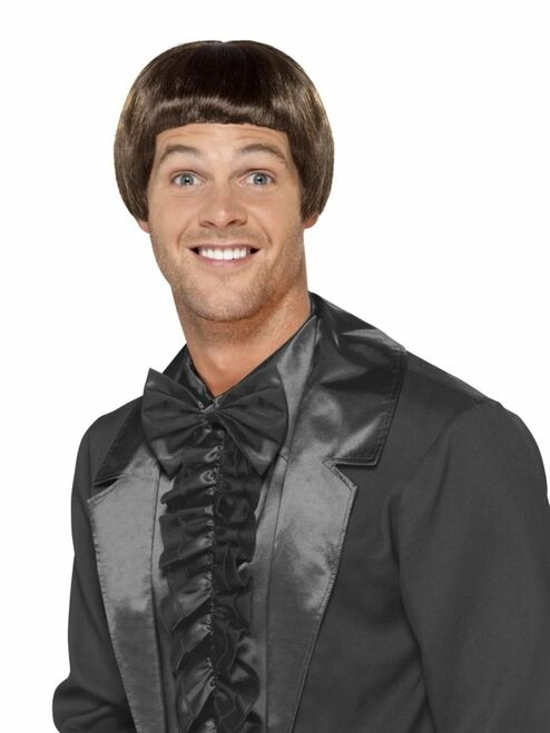 """26"""" Brown 1990 Style Bowl Cut Men Adult Halloween Wig Costume Accessory - One Size - IMAGE 1"""