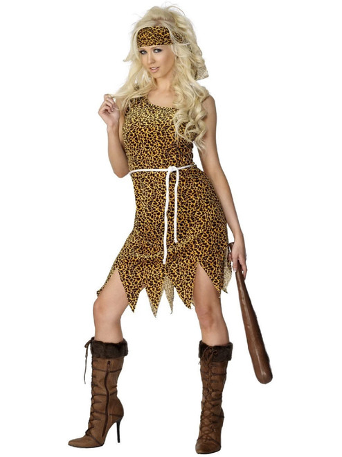 """44"""" Brown and Black Cavewoman Women Adult Halloween Costume - Large - IMAGE 1"""