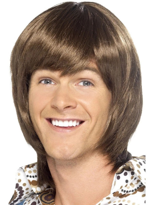 """26"""" Brown 1970's Style Heartthrob Men Adult Halloween Wig Costume Accessory - One Size - IMAGE 1"""