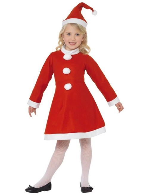 "49"" Red and White Santa Girl Child Christmas Costume - Large - IMAGE 1"