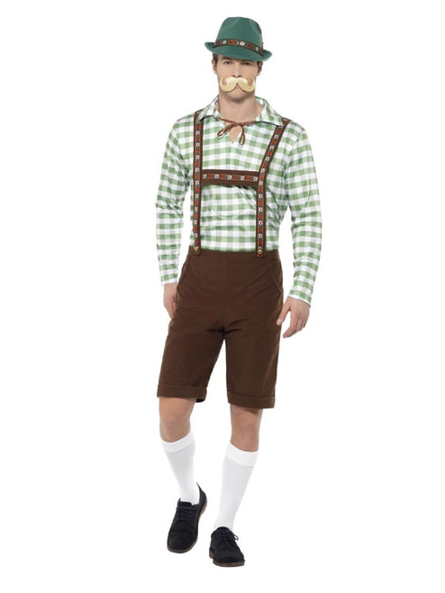 Green and Brown Checkered Alpine Bavarian Men Adult Halloween Costume - Large - IMAGE 1