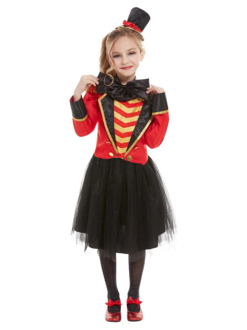 """40"""" Red and Black Deluxe Ringmaster Girl Child Halloween Costume with Jacket and Headband - Large - IMAGE 1"""