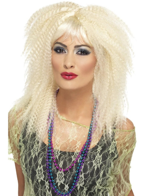 "26"" Blonde Beige 1980's Style Trademark Crimp Women Adult Halloween Wig Costume Accessory - One Size - IMAGE 1"