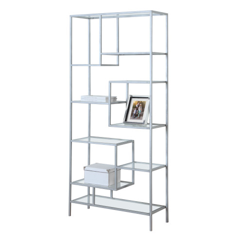 """71"""" Silver Contemporary Rectangular Bookcase with Tempered Glass - IMAGE 1"""