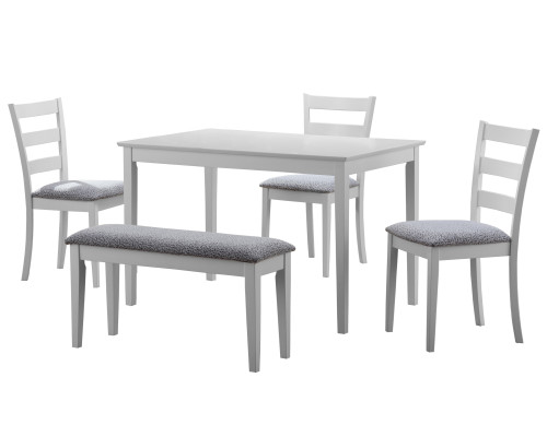"""5-Piece White and Gray Contemporary Dining Set 47.5"""" - IMAGE 1"""