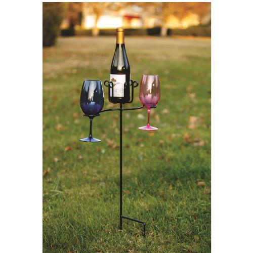 "30"" Black Wine Glass & Bottle Stake - IMAGE 1"