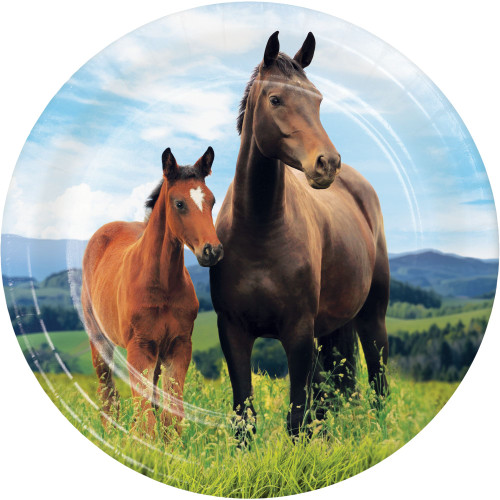 """Club Pack of 96 Brown Horse and Pony Printed Dessert Plates 8.75"""" - IMAGE 1"""