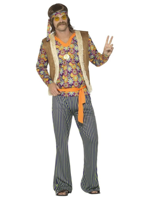 "41"" Brown and Orange 1960's Style Singer Men Adult Halloween Costume - Small - IMAGE 1"