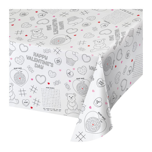 """Club Pack of 12 White and Black Valentine Decor Rectangular Tablecovers 88"""" - IMAGE 1"""