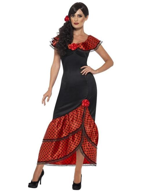 "49"" Black and Red Flamenco Senorita Women Adult Halloween Costume - Small - IMAGE 1"