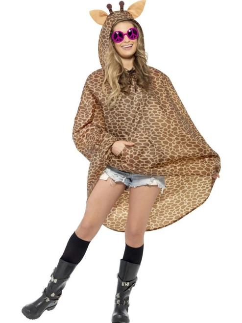 "22"" Brown Giraffe Poncho Unisex Adult Halloween Costume - One Size - IMAGE 1"