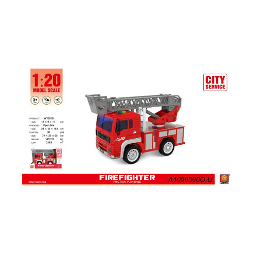 """9.25"""" Fire Fighter 1:20 Scale Toy Truck with Sound and Light - IMAGE 1"""