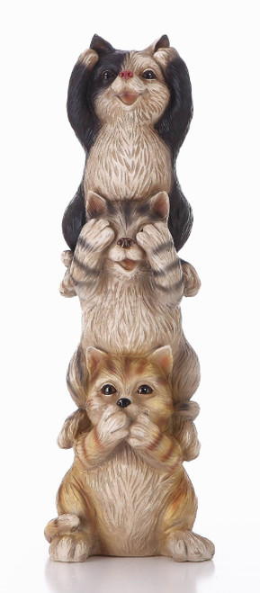 """22.25"""" Beige and Black Stacked Cats Outdoor Garden Statue - IMAGE 1"""